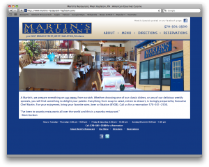 Martin's Restaurant web site